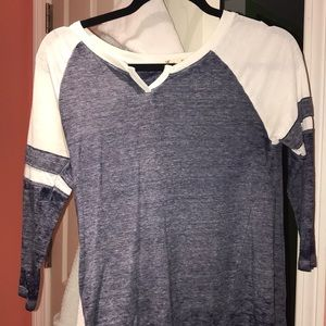 Navy and white half sleeve shirt